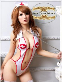 Hot selling sexy underwear, lady's sexy lingerie ,Open Front Backless Costume Nurse