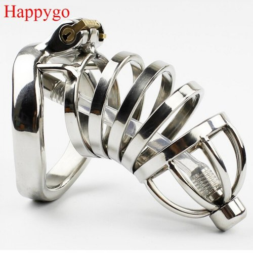 Happygo Stainless Steel Stealth Lock Male Chastity Device with Urethral Catheter