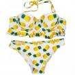 2017 Pineapple printed sweety bikini set underwire push up bandeau bathing swimsuits