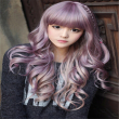 korean women wigs with bangs cheaps full taro wig curly long light purple wig natura