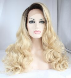 Fashion Natural Long Bodywave Blonde Synthetic Lace Front Wig Glueless Ombre Dark