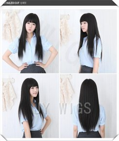 Long Black Straight Wig Cute Fringe Sexy Womens Girls Cosplay Party Hair Full Wigs