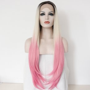 FREE SHIP Natural Resistant Kanekalon Hair Ombre Blonde/Pink Silk Straight Syntheti