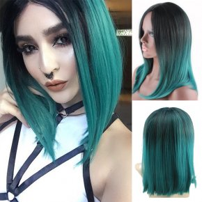 Women Synthetic Black Green Wig Heat Resistant High Temperature Fiber Long Straight Wigs
