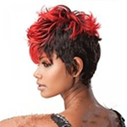 HAIRJOY Stylish Short Curly Red and Black Synthetic Hair Wig Woman Fashion