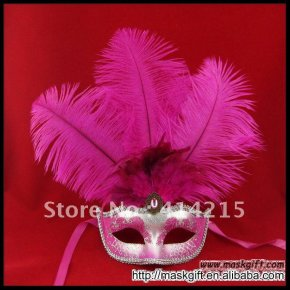 Beautiful Hot pink And Silver Masquerade Feather Party Venetian Sexy Mask (A009