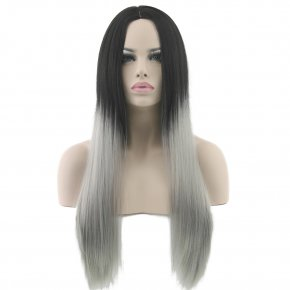 Long Black To Gray Ombre Wig Cosplay Wigs Synthetic Hair Resistant Women Straight