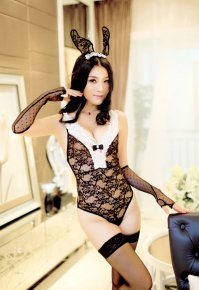 NEW Black Lace bunny jumpsuit costume, role playing clothing Sexy lingerie lace bunny rabbit uniforms sexy costumes