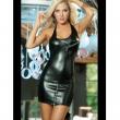 Black Wet Look Cowl Neck Mini Dress