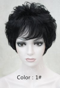 High quality Synthetic hair wig Women 's naturally curly Short wig many color for