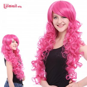 L-email wig Women Cosplay Wigs Pink Anime Curly Wigs Long Wavy Girl Synthetic Wigs
