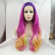 Handmade Long Wavy Ombre Synthetic Lace Front Wig Glueless Purple/Rose/Yellow Silk
