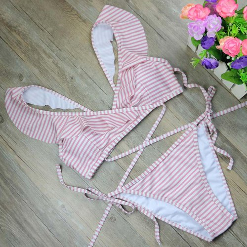 New Striped print Bathing Suit Brazilian Biquini Sexy Swimwear Bikinis Set 2017