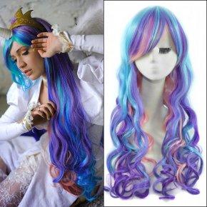 32inch Ombre Colorful Long Wavy Anime My Little Pony Princess Celestia Cosplay Harajuku