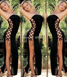 2016 Black Side Split Tube Dress Hollow Bandage Adult Female Women Sexy Lingerie