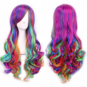 wavy european wig ombre pastel rainbow wig long multi color wigs cosplay women natur