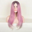 27Inches Long Omber Pink Straight Synthetic Wig Fashion Natural Cheap Hair Black