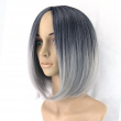Short Black To Gray White Ombre Wigs Women Hair Cosplay Bob Wigs Synthetic Resistan