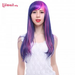 L-email wig Long Straight 60cm Fashion Synthetic Hair Mixed Purple
