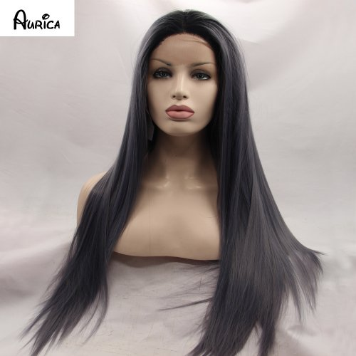 Fashion Straight Ombre Dark Gray Synthetic Lace Front Wig Glueless Two Tone Natural