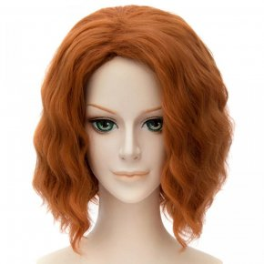 Black Widow Sexy Orange Short Curly Wavy Women Cosplay Party Full Hair Wigs