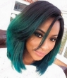 Fashion Ombre Dark Green Straight Short Bob Synthetic Lace Front Wig Natural Black