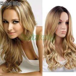 Long Curly Blonde Wig 26'' Long Synthetic Wigs For Black Women Natural Ombre Blonde