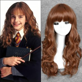 55cm Medium Brown Long Kinky Curly Movie Harry Potter Hermione Jean Granger Cospla