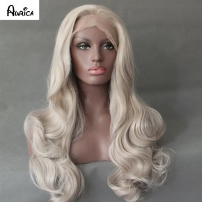 Fashion Light Grey Bodywave Synthetic Lace Front Wig Glueless Long Natural Resistan
