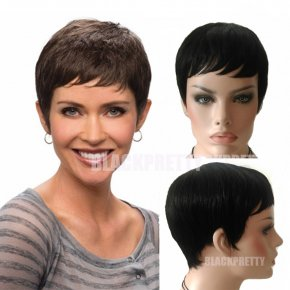 Cheap Short Brazilian Hair Human Wig Pixie Cut Short Full Lace Wig African American