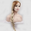 Fashion Natural Long Straight Brown Blonde Ombre Synthetic Lace Front Wig Resistant