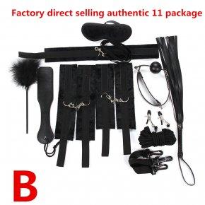 7 11pcs/set Adult Games Leather Bondage Sex Kits Set Hand Cuffs Whip Rope Mask Fetis