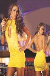 a yellow skirt