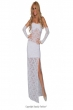 dew shoulder white cocktail paty dress