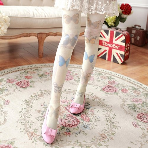 Thin section of the velvet Harajuku series Butterfly retro spring silk stockings