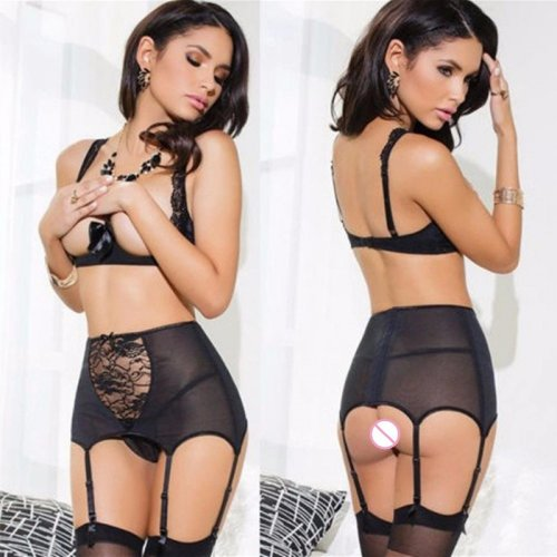2017 Women Sexy Underwear Black Transparent Mesh Lace Bra Top G-String Garter