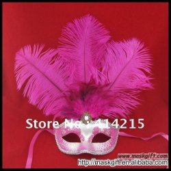 1 dozen Beautiful Hot pink And Silver Masquerade Feather Party Venetian Sexy Mask