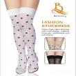 Black Spots Sexy Women Thin Thigh High Silk Stocking White Female stockings Thick