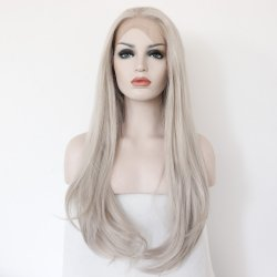 Fashion Synthetic Grey Lace Front Wig Glueless Long Resistant Hair Woman Natural