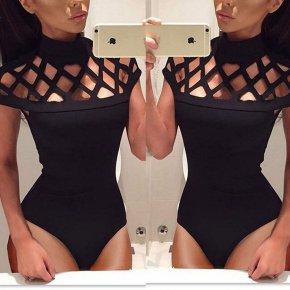 New Women's Hollow Bodysuit Ladies Leotard Bodycon Tops T shirt Jumpsuit Romper