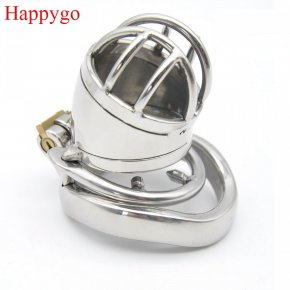 Happygo Stainless Steel Stealth Lock Male Chastity Device with Anti-Shedding Ring