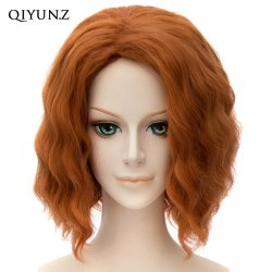 Black Widow Sexy Orange Short Curly Wavy Women Cosplay Party Full Hair Wigs