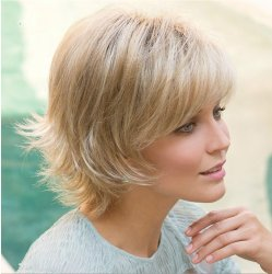 Short Curly Synthetic Resistant Fiber Hair Wig With Light Platinum Blonde