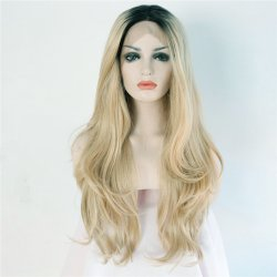 Handmade Dark Roots Golden Blonde Synthetic Lace Front Wig Resistant Hair Wavy