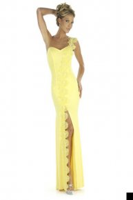 yellow strap prom dress