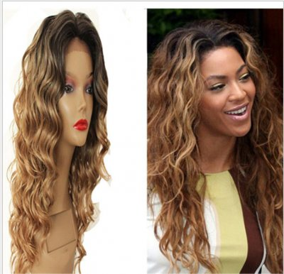 Brown Long Without Bangs Synthetic African American Hair
