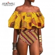 SEBOWEL Sexy Africa Tribal Bathing Suits Women Off Shoulder Swimwear High Waisted