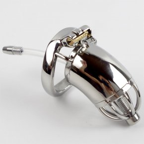 With catheter Chastity belt device men belt stainless steel metal penis lock chastit