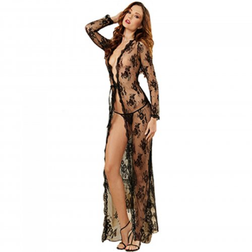Bathrobe Black Transparent Jacquard Women's Underwear Fantasias Sexy Erotic Lingerie