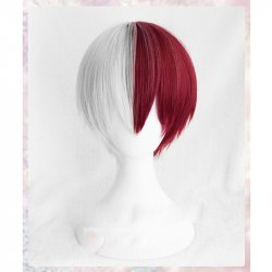 My Hero Academia Boku no Hiro Akademia Shoto Todoroki Shouto White And Red Cosplay Wig+Wig Cap